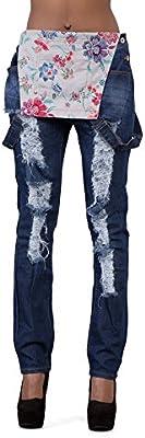 Mujeres Grande rasgada peto Jeans tallas 4216182022