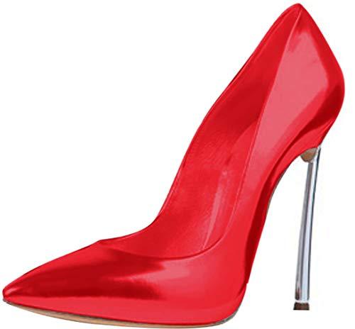 Calaier Donna Linjie Punta-Toe 12CM Scivolare su Scarpe col Tacco Calzature, Rosso, 34