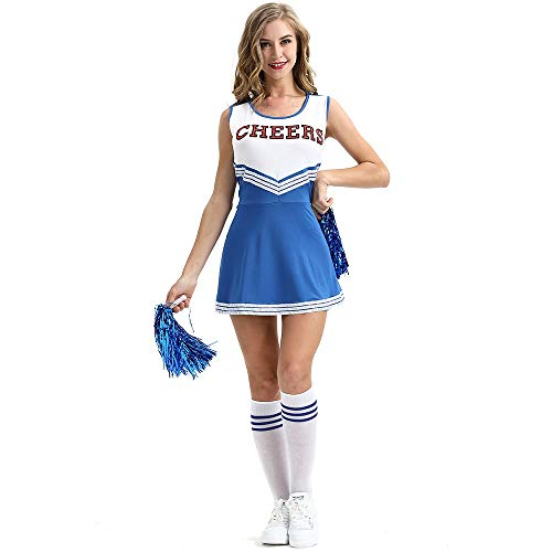 BSESTELL Plus Size Cheerleading Kostüme Sexy Dessous Cheerleading Uniformen Mit Cheerleading Blumen (Color : Blau, Size : - Cheerleading Kostüm Zu Machen
