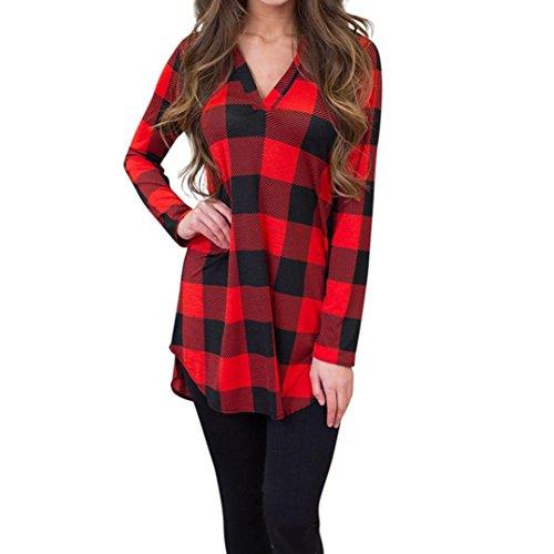 FORH Damen Reizvolle V-Ausschnitt Langarmshirts Elegant Karierte Striped Blusen Casual Langarm Oversize hemd Slim Fit Freizeithemd weich Baumwolle T-Shirt Tops (Rot, L) (Top Günstige Halloween Kostüme)