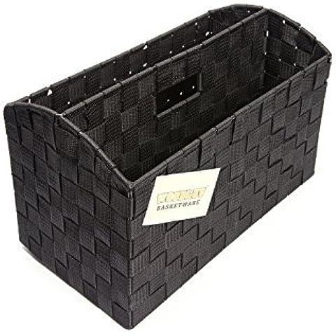 EHC - Organizer da scrivania/porta documenti con 2 scomparti, colore: nero