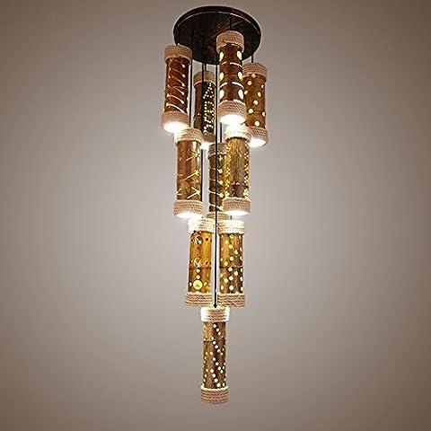 BJVB Legno moderno LED Downlights canapa corda ciondolo luci corda lampadari a sospensione Lampade