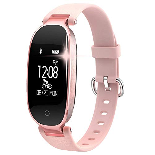 HHRONG 0,96-Zoll-Smart-Armband, Damen Fitness Tracker Pulsmesser Schrittzähler Sportuhr für Android Ios-D Kamera-monitoring-software