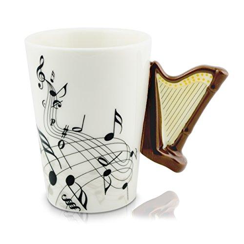 VENKON - Keramiktasse mit Harfe als Henkel und Noten Verzierung in hochwertiger Geschenkbox - 200ml