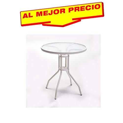 MESA DE TERRAZA REDONDA DE ACERO Y CRISTAL 70 CM, MESA JARDIN USO EN EXTERIOR E INTERIOR, ESTILO MODERNO, COLOR