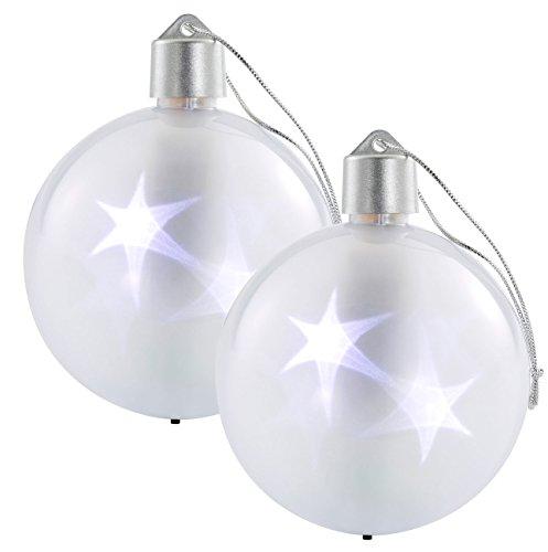 Lunartec 3D LED-Weihnachtskugel: 2er-Set LED-Weihnachtskugeln mit 3D-Effekt, Weiß (Weihnachtsdeko Kugel)