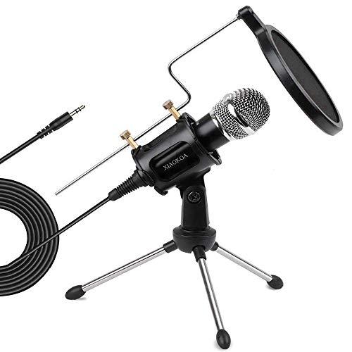 XIAOKOA Microfono PC 35 e USB MicrofonoVoice Desktop Microfono con Standper Youtube/Skype/Chat Online/Giochi/Registrazione/Podcasting