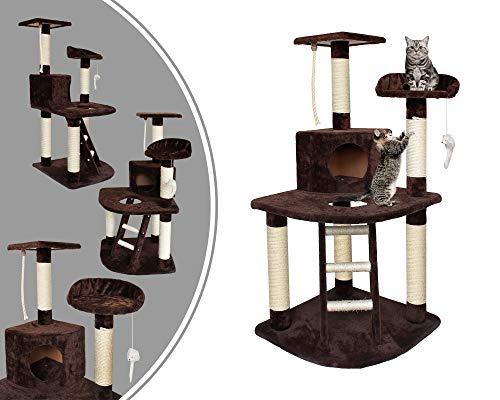 Leogreen - Árbol para Gatos, Poste Rascador para Gatos, 120 cm, 4 plataformas, Marrón, Material: MDF, Accesorios: Cuerda + ratón