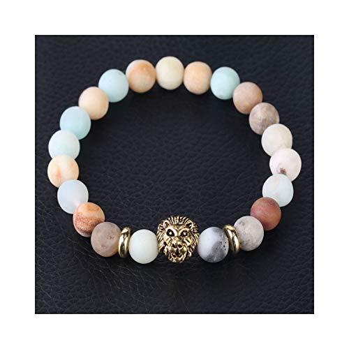 Awertaweyt Edelstein Perlen Armband Natural Stone Amazon Frosted Bead Amazonite Bracelet Mala Beads Pulsera SkullABCDEFHead Reiki Jewelry for Men Women F429 Lion