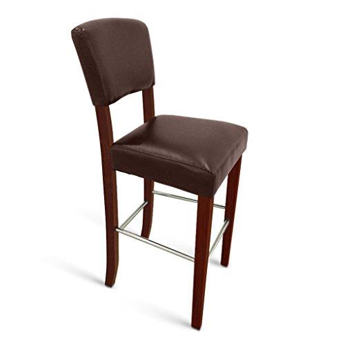 SAM Barhocker Mare, Kunstleder braun, Beine in Kolonial-Optik, Stuhl mit hoher Rückenlehne