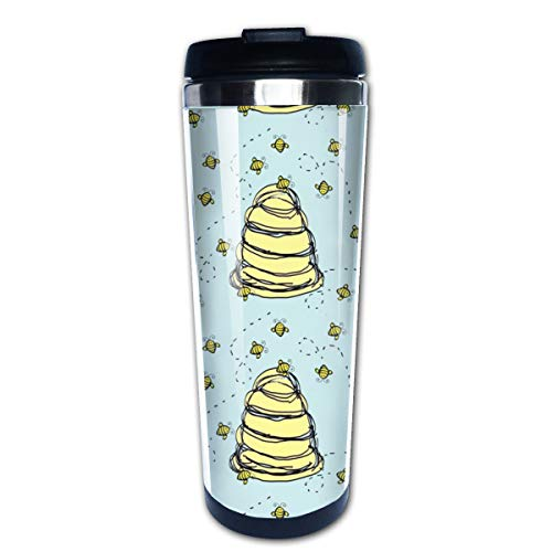 Baby Cute Beehive In Blue Quilters Multi Insulated Stainless Steel Travel Mug 14 oz Classic Lowball Tumbler with Flip Lid Blue Barrel Mug