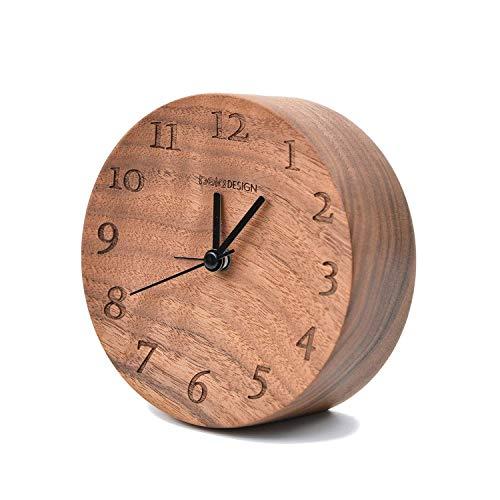 Glitz Star Holz FSC Schwarze Walnuss Nacht Wecker Silent Alarm Klassische Round Table Büro