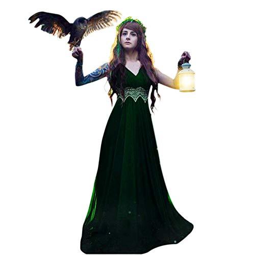 Kostüm Übergröße Renaissance Lady - SEHRGUTGE Womens Retro V-Ausschnitt ärmelloses Midi-Kleid - Renaissance mittelalterliche Kostüme - Gothic volle Länge Lace Long Maxi-Kleid, Plus Size