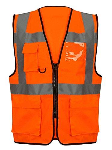 Islander Fashions Islander Fashions High Visibility Exekutive Sicherheit Weste Unisex Arbeitskleidung Reflektierende Jacke Orange/Schwarz Zip Weste Klein