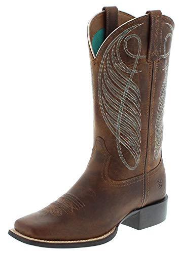 Ariat Damen Cowboy Stiefel 18528 Round UP WST Westernreitstiefel Lederstiefel Braun 37.5 EU -