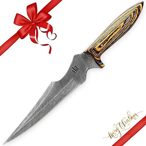 Hobby Hut HH-302, Custom handgefertigt 30.5 cm damast jagdmesser mit lederscheide, Extra Scharf, Damastmesser Jagdmesser, Entworfen für Jagd, Camping,Micarta Griff