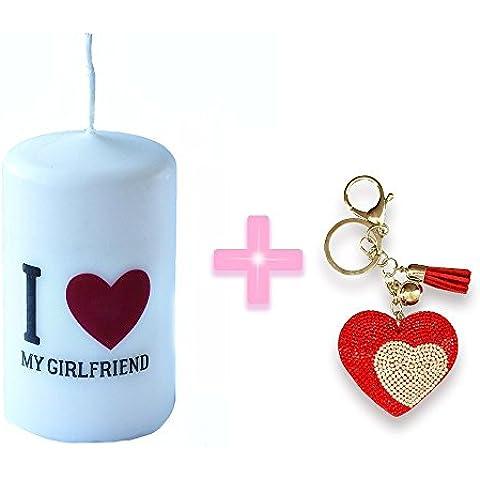 I Love My Girfriend Regalo tamaño de la vela 6cm x 10cm + Regalo de la cadena del anillo dominante del monedero del bolso del color del oro del Rhinestone grande Llavero Corazón Charm colgante de cristal