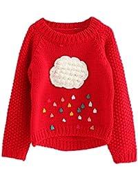 Mitlfuny Primavera Otoño Ropa de Punto Pull-Over Bebé Camisetas de Manga Larga Nubes de Colores Suéter de Cuello Redondo Niñas Niños Jerseys Tops Recién Nacido Niño 2-6 Años