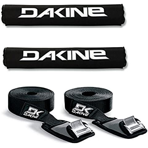 Dakine 18 ROUND BAR Black Surfboard / SUP / Kayak Roof Car SUV Rack Pad Set with 12' Baja Tie Down Straps Thule by None