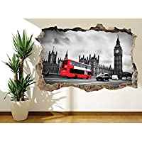 Black and white London with red bus wall sticker wall mural (25077132) London (60cm x 40cm) preiswert