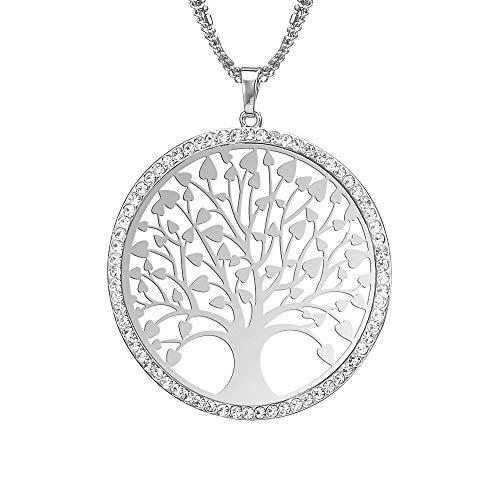 ette für Damen mit Lebensbaum-Anhänger aus Glas, lange Halskette, Silber ()