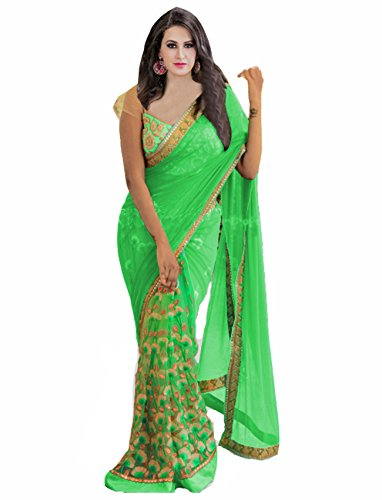 Vivera Women\'s Georgette Net Saree with Embroidery blouse piece