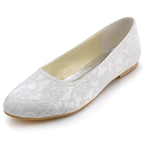 Elegantpark ep11106 donna pizzo punta chiusa balletto partito scarpe da sposa avorio eu 38