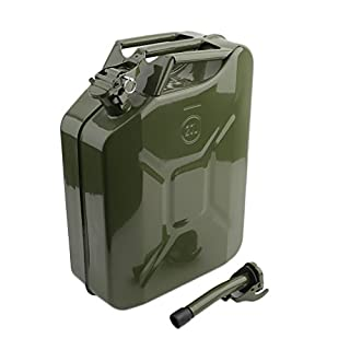 Blackpoolal Large 20 Litre Petrol Can Portable Metal Motorcycle Fuel Container Diesel Petrol Oil Water Tank Gasoline Jerry Can 20L with Spout (Green Military)