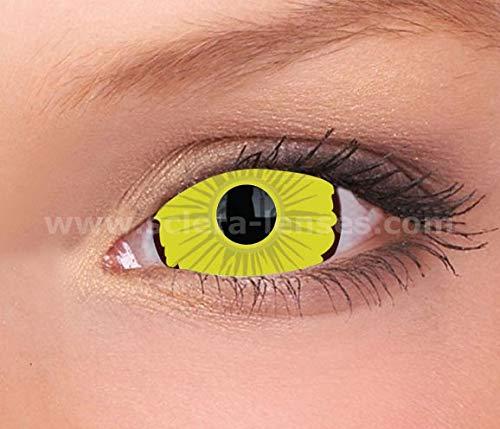 Kontaktlinsen Lenses - 27 Modelle - 17mm, 1Paar (2 Stück), ohne Stärke, Gratis Behälter (Deathly Yellow Mini Sclera) ()