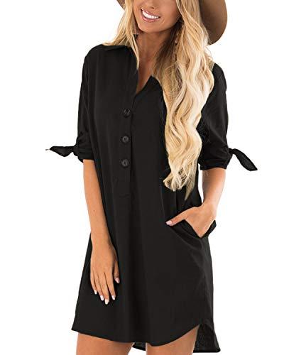 CNFIO Sommerkleid Damen Elegant Kleider V-Ausschnitt 1/3 Ärmel Einfarbig Shirt Design Kurz Blusenkleid Minikleid Strand Kleider B-Schwarz EU46 - Einfache Baumwolle Kleid