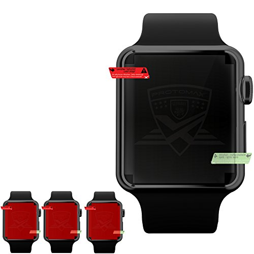 3 x PROTOMAX' beste Displayschutzfolie für APPLE WATCH Series 3 (42 mm) Smartwatch / Wearable / iWatch, Schutzfolie kompatibel zu Apple Watch Series 3, Apple Watch Nike+, Apple Watch Hermès, Apple Watch Edition, Displayschutz (42 mm, Transparent - Crystal Clear)