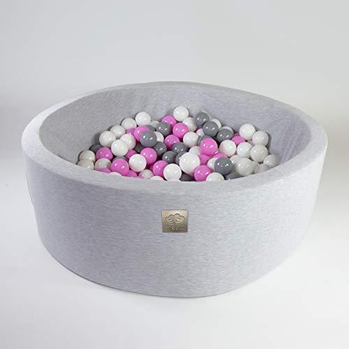 Bällebad mit Bällen Mädchen Junge - Bälle Bad für Kinder Baby rund 200 Bälle 90x30 cm grau weiß hellrosa