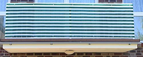 S&D Smart Deko 700x90cm Dunkelgrün&Weiß Balkonsichtschutz, Balkonverkleidung, Windschutz, Sichtschutz und UV-Schutz für Balkon, Gartenanlagen, Camping und Freizeit (700x90cm)