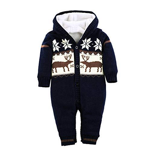 Kleider Kinderbekleidung Honestyi Baby Warm Strampler Neugeborenen Jungen Mädchen Pullover Weihnachten Deer Plüsch mit Kapuze Outwear (DunkeBlau,90)