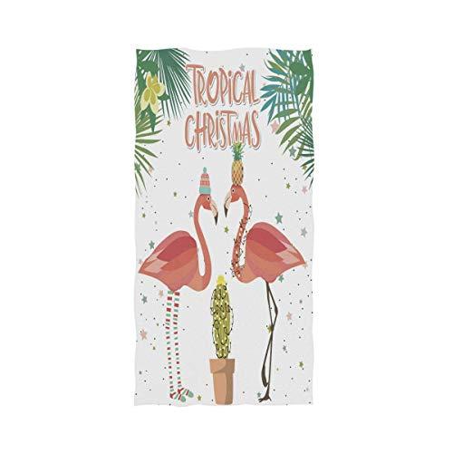 VLOOQ-HX Tropischer Kaktus verlässt Weihnachten gekleidete Flamingo-weiche saugfähige große Handtücher Mehrzweck für Badezimmer, Hotel, Turnhalle und Badekurort 27,5 x 17,5 Zoll -