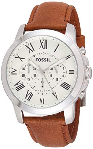 Fossil Herren Chronograph Quarz Uhr mit Leder Armband FS4735