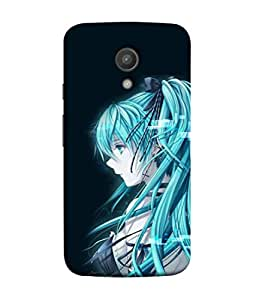 Motorola Moto G XT1068, Motorola Moto G+1, Motorola Moto G (2nd Gen), Motorola Moto G2 Back Cover, Motorola Moto G2 Back Case Portrait Of A Beautiful Woman With Blue Hair Design From Printvisa