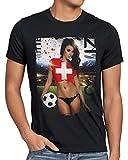 style3 WM 2018 Soccer Girl Deutschland Herren T-Shirt Fußball Trikot Germany Schwarz, Größe:XL, Land:Schweiz