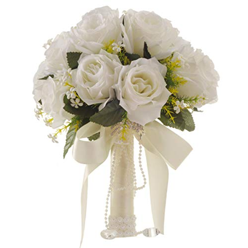 JKYQ Kreative Hochzeits-Versorgung Wedding Bouquet Bridal Bouquet White Imitation Rose Blume Mit Rhinestone Brautjungfer Dekoration Bouquets Party Home Flora