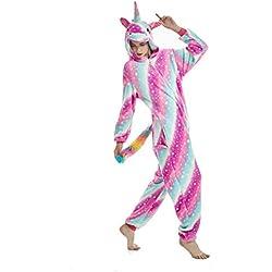 """Pijama para Animal Adultos Capucha Unicornio Ropa De Dormir Dibujos Animados Invierno Pijama (Rose Star, M Medida para Altura 155-165 CM (61""""-65""""))"""