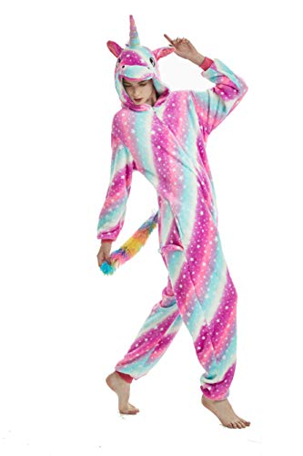 Einhorn Pyjamas Kostüm Jumpsuit Tier Schlafanzug Erwachsene (XL fit for Height 175-185CM (68.8