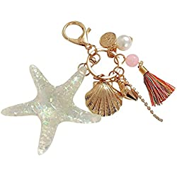 Oyfel Llavero de Estrella de Mar Concha Bellota Brillantes Perlas Regalo de Coche Bolsa teléfono Cartera 1pcs