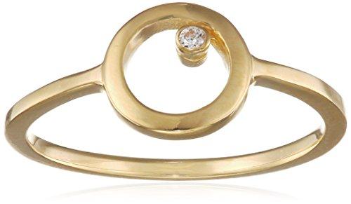 caï Damen-Ring 925 Silber gelb vergoldet Zirkonia weiß Gr. 52 (16.6)