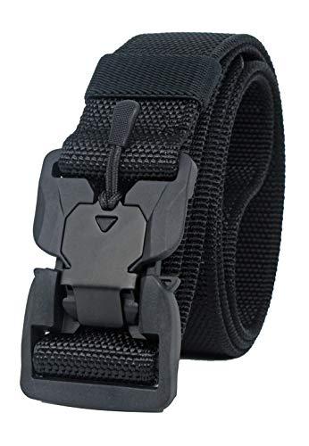 Longwu Fibbia super magnetica Cintura in vita da uomo e donna tattica militare traspirante in tela di nylon a sgancio rapido con fibbia in plastica Nero