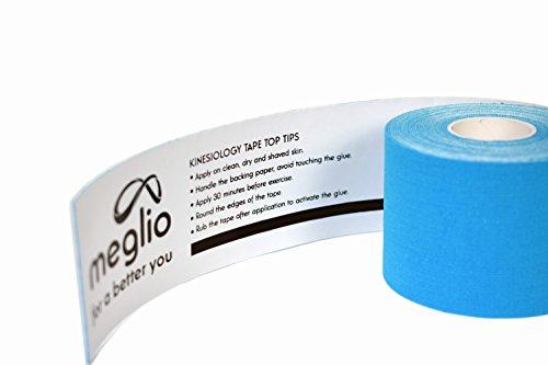 Meglio vorgeschnittenes Kinesiologie Tape 5cm x 5m Rolle - Tapeverband - Sporttape für Muskeln - 100% Baumwolle - 2