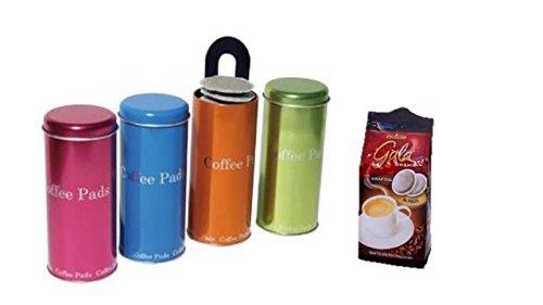 Eduscho Gala Crema, Mild, 16 Kaffeepads, 112g Packung + Premiumdosen 4er Set mit Padheber