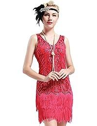BABEYOND Damen Kleid Retro 1920er Stil Flapper Kleider mit Zwei Schichten  Troddel V Ausschnitt Great Gatsby c8a47dff49