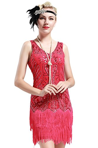 Retro 1920er Stil Flapper Kleider mit zwei Schichten Troddel V Ausschnitt Great Gatsby Motto Party Kleider Damen Kostüm Kleid Rosa Rot (1920 Kostüm Kleider)