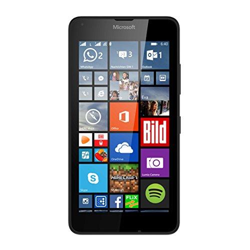 Microsoft Lumia 640 Dual-SIM LTE Smartphone (12,7 cm (5 Zoll) HD-IPS-Display, 1,2 GHz-Quad-Core-Prozessor, 8 Megapixel-Kamera, 2500 mAh Akku, 3G & 4G LTE, Dual-SIM, Windows Phone 10) schwarz