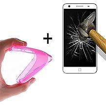 WoowCase   Funda Gel Flexible para [ Elephone P7000 ] [ +1 Protector Cristal Vidrio Templado ] Ultra Resistente contra Arañazos y Golpes Dureza 9H, Carcasa Case Silicona TPU Suave - Rosa